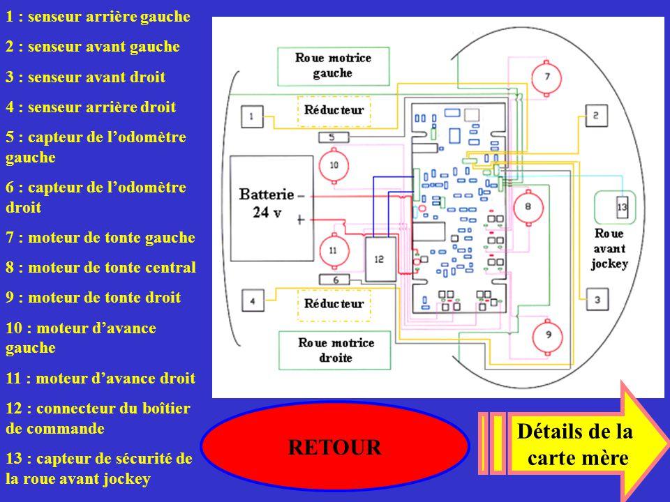 1 : senseur arrière gauche 2 : senseur avant gauche 3 : senseur avant droit 4 : senseur arrière droit 5 : capteur de l'odomètre gauche 6 : capteur de
