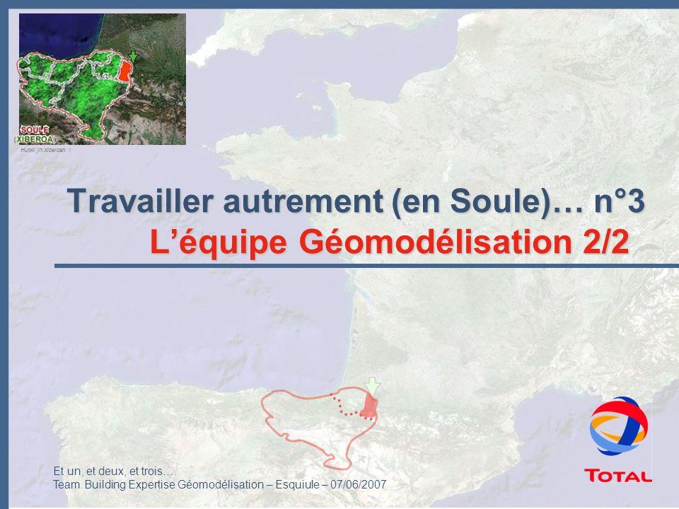 Et un, et deux, et trois…. Team Building Expertise Géomodélisation – Esquiule – 07/06/2007 Travailler autrement (en Soule)… n°3 L'équipe Géomodélisati