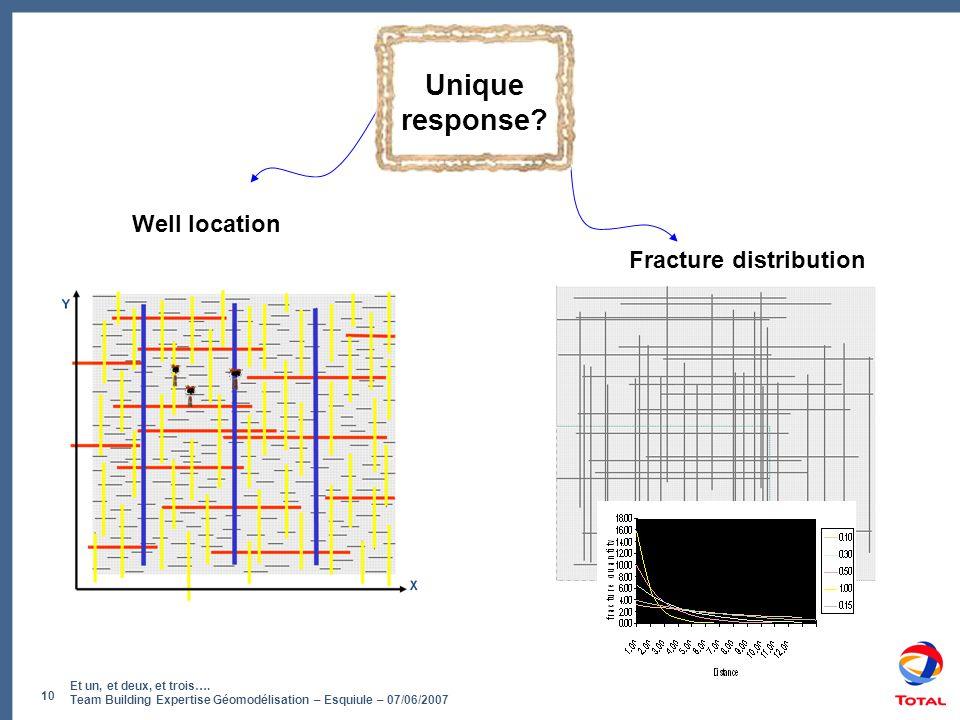 Et un, et deux, et trois…. Team Building Expertise Géomodélisation – Esquiule – 07/06/2007 10 Unique response? Well location Fracture distribution