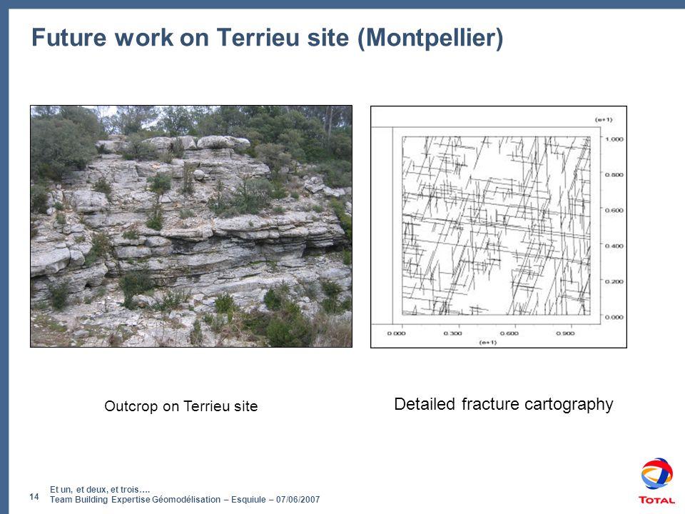 Et un, et deux, et trois…. Team Building Expertise Géomodélisation – Esquiule – 07/06/2007 14 Future work on Terrieu site (Montpellier) Detailed fract