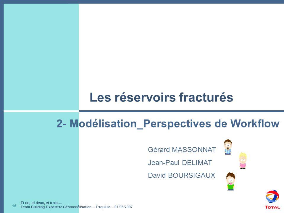 Et un, et deux, et trois…. Team Building Expertise Géomodélisation – Esquiule – 07/06/2007 16 Les réservoirs fracturés Gérard MASSONNAT Jean-Paul DELI