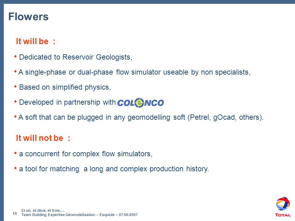 Et un, et deux, et trois…. Team Building Expertise Géomodélisation – Esquiule – 07/06/2007 19 Flowers It will be : • Dedicated to Reservoir Geologists