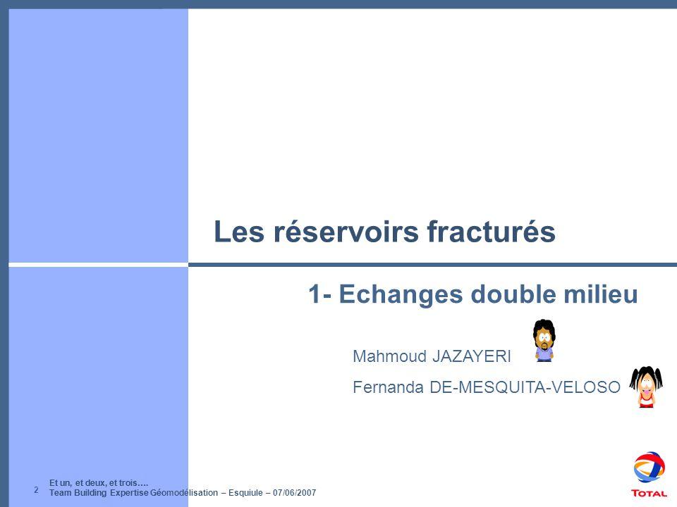 Et un, et deux, et trois…. Team Building Expertise Géomodélisation – Esquiule – 07/06/2007 2 Les réservoirs fracturés Mahmoud JAZAYERI Fernanda DE-MES