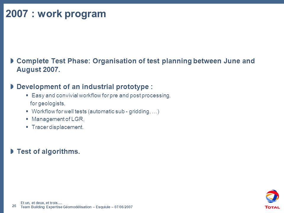 Et un, et deux, et trois…. Team Building Expertise Géomodélisation – Esquiule – 07/06/2007 26 2007 : work program Complete Test Phase: Organisation of