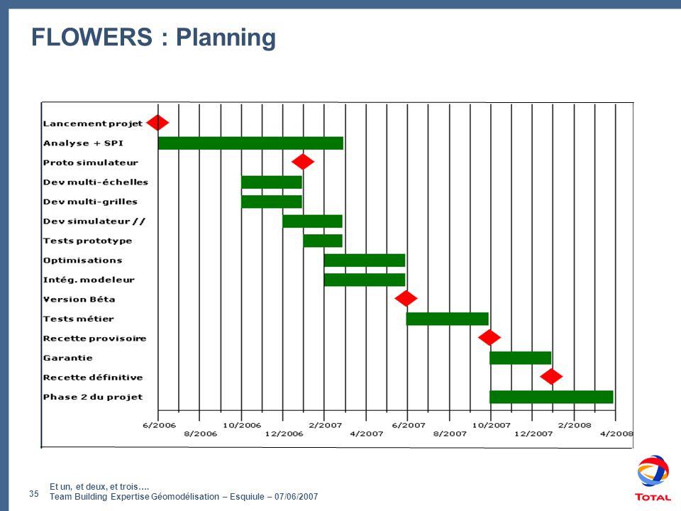 Et un, et deux, et trois…. Team Building Expertise Géomodélisation – Esquiule – 07/06/2007 35 FLOWERS : Planning