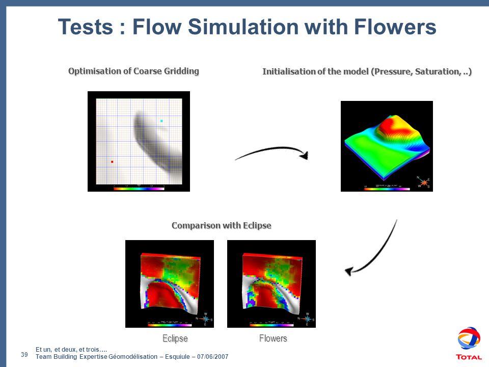 Et un, et deux, et trois…. Team Building Expertise Géomodélisation – Esquiule – 07/06/2007 39 Tests : Flow Simulation with Flowers Initialisation of t