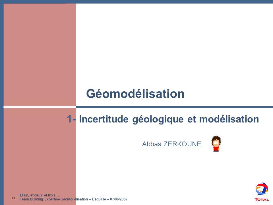 Et un, et deux, et trois…. Team Building Expertise Géomodélisation – Esquiule – 07/06/2007 44 Géomodélisation Abbas ZERKOUNE 1- Incertitude géologique