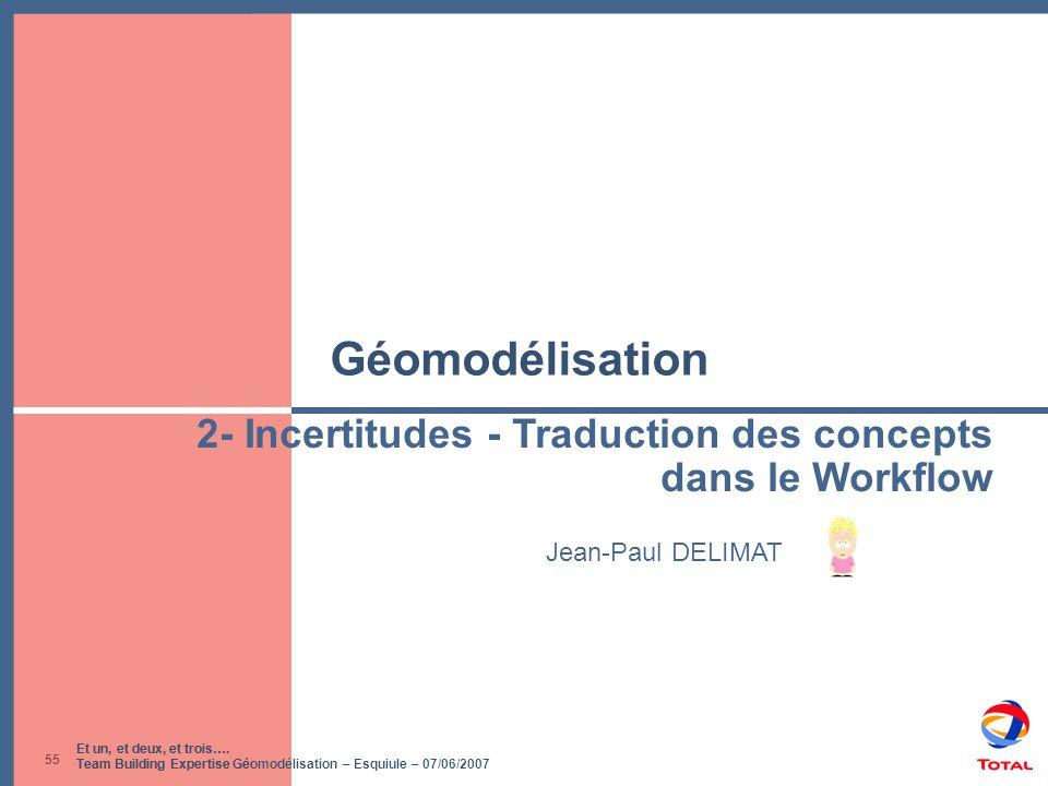 Et un, et deux, et trois…. Team Building Expertise Géomodélisation – Esquiule – 07/06/2007 55 Géomodélisation Jean-Paul DELIMAT 2- Incertitudes - Trad