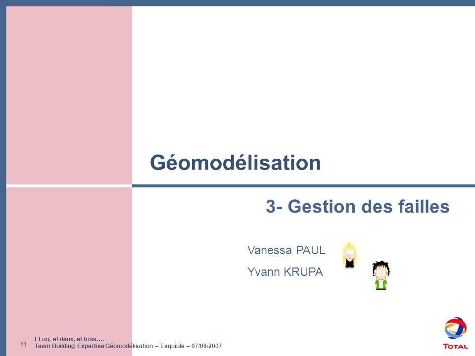 Et un, et deux, et trois…. Team Building Expertise Géomodélisation – Esquiule – 07/06/2007 61 Géomodélisation Vanessa PAUL Yvann KRUPA 3- Gestion des