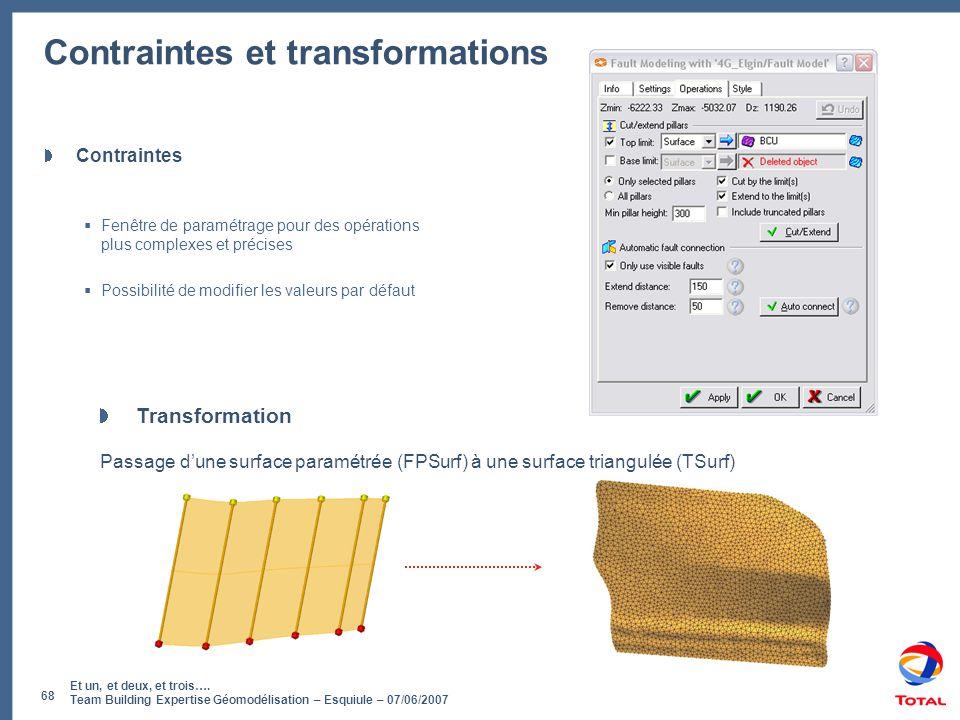 Et un, et deux, et trois…. Team Building Expertise Géomodélisation – Esquiule – 07/06/2007 68 Contraintes et transformations Contraintes  Fenêtre de