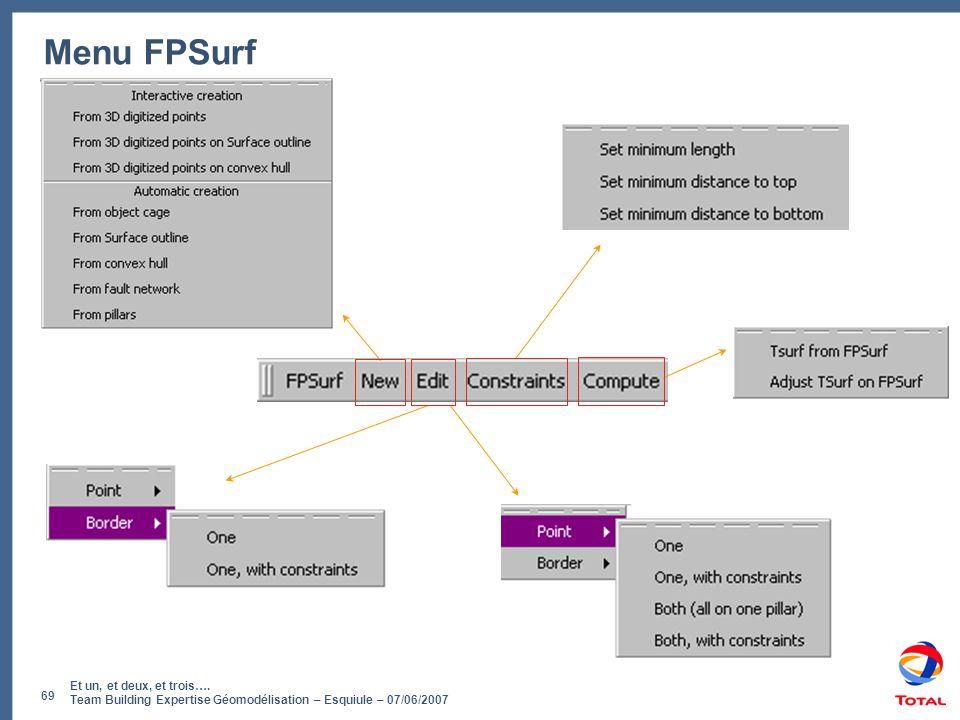 Et un, et deux, et trois…. Team Building Expertise Géomodélisation – Esquiule – 07/06/2007 69 Menu FPSurf