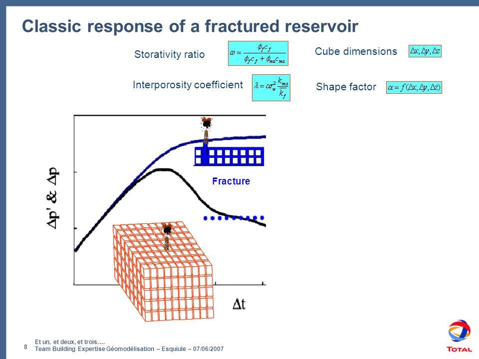 Et un, et deux, et trois…. Team Building Expertise Géomodélisation – Esquiule – 07/06/2007 8 Classic response of a fractured reservoir Fracture Transi