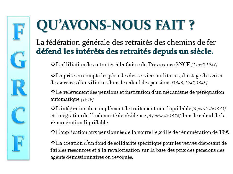 La fédération générale des retraités des chemins de fer  L'affiliation des retraités à la Caisse de Prévoyance SNCF [1 avril 1944]  Le relèvement des pensions et institution d'un mécanisme de péréquation automatique [1949]  L'intégration du complément de traitement non liquidable [à partir de 1968] et intégration de l'indemnité de résidence [à partir de 1974] dans le calcul de la rémunération liquidable QU'AVONS-NOUS FAIT .