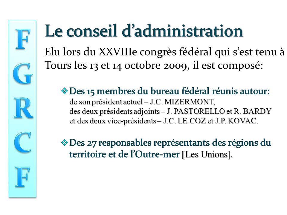 Elu lors du XXVIIIe congrès fédéral qui s'est tenu à Tours les 13 et 14 octobre 2009, il est composé: