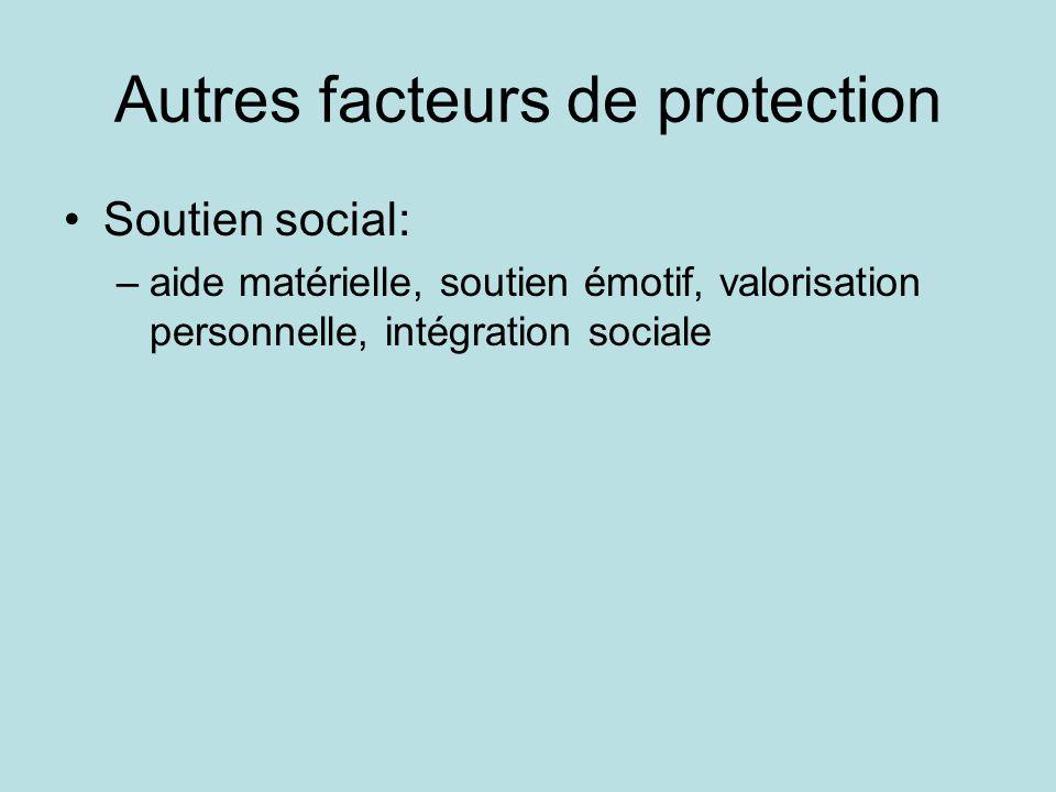 Autres facteurs de protection •Soutien social: –aide matérielle, soutien émotif, valorisation personnelle, intégration sociale