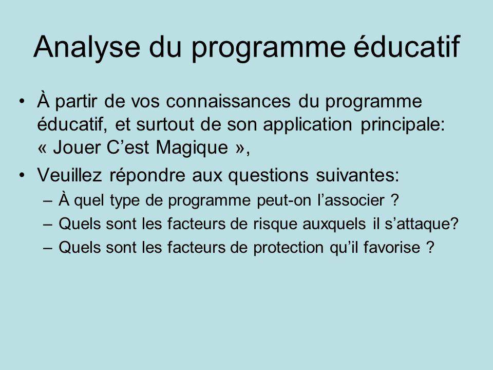 Analyse du programme éducatif •À partir de vos connaissances du programme éducatif, et surtout de son application principale: « Jouer C'est Magique », •Veuillez répondre aux questions suivantes: –À quel type de programme peut-on l'associer .