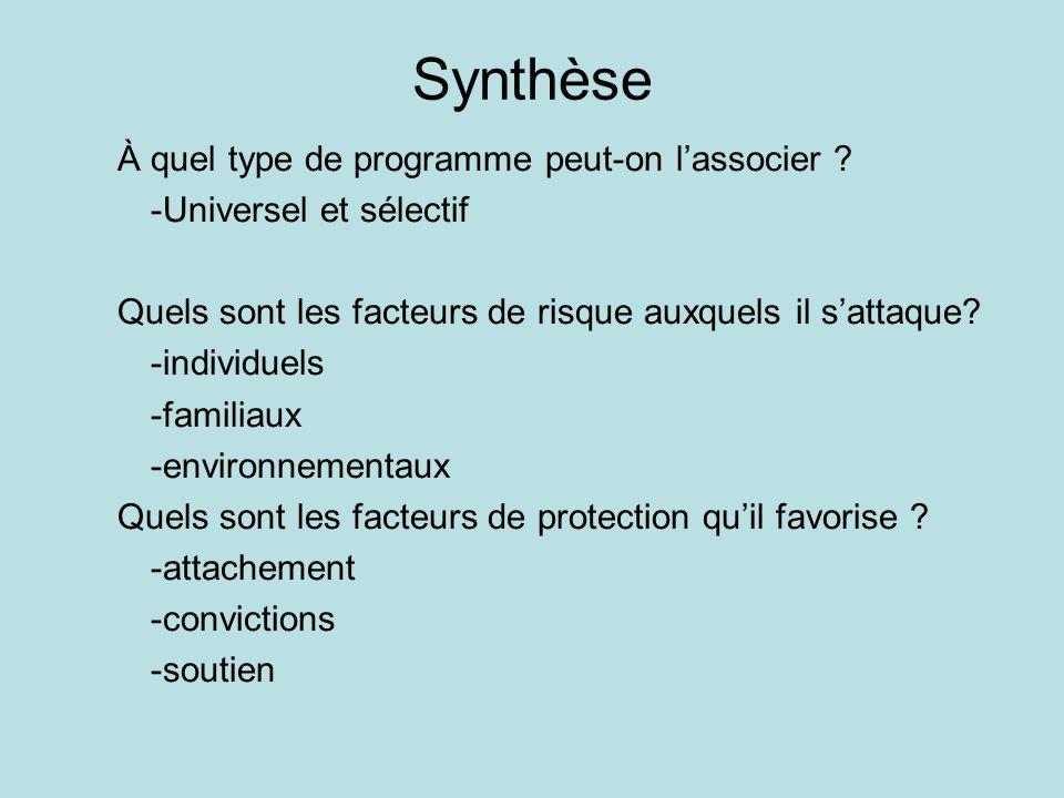 Synthèse À quel type de programme peut-on l'associer ? -Universel et sélectif Quels sont les facteurs de risque auxquels il s'attaque? -individuels -f
