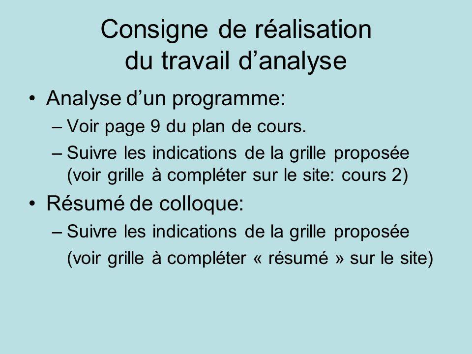 Consigne de réalisation du travail d'analyse •Analyse d'un programme: –Voir page 9 du plan de cours. –Suivre les indications de la grille proposée (vo