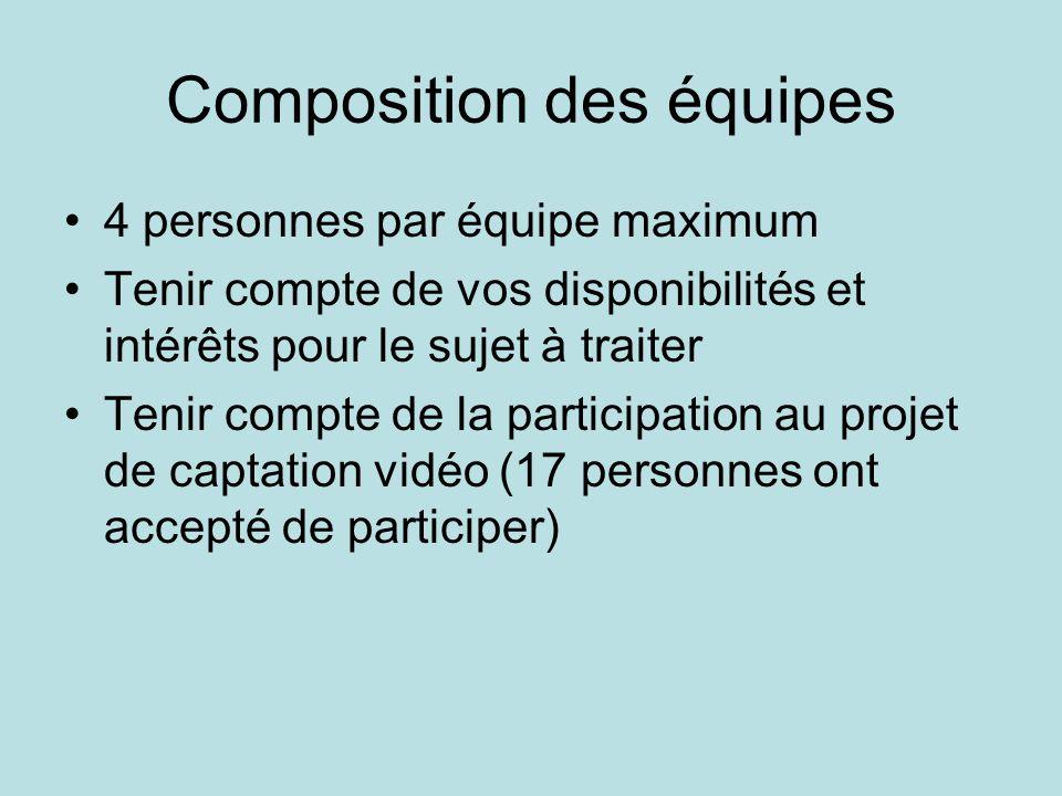 Composition des équipes •4 personnes par équipe maximum •Tenir compte de vos disponibilités et intérêts pour le sujet à traiter •Tenir compte de la pa