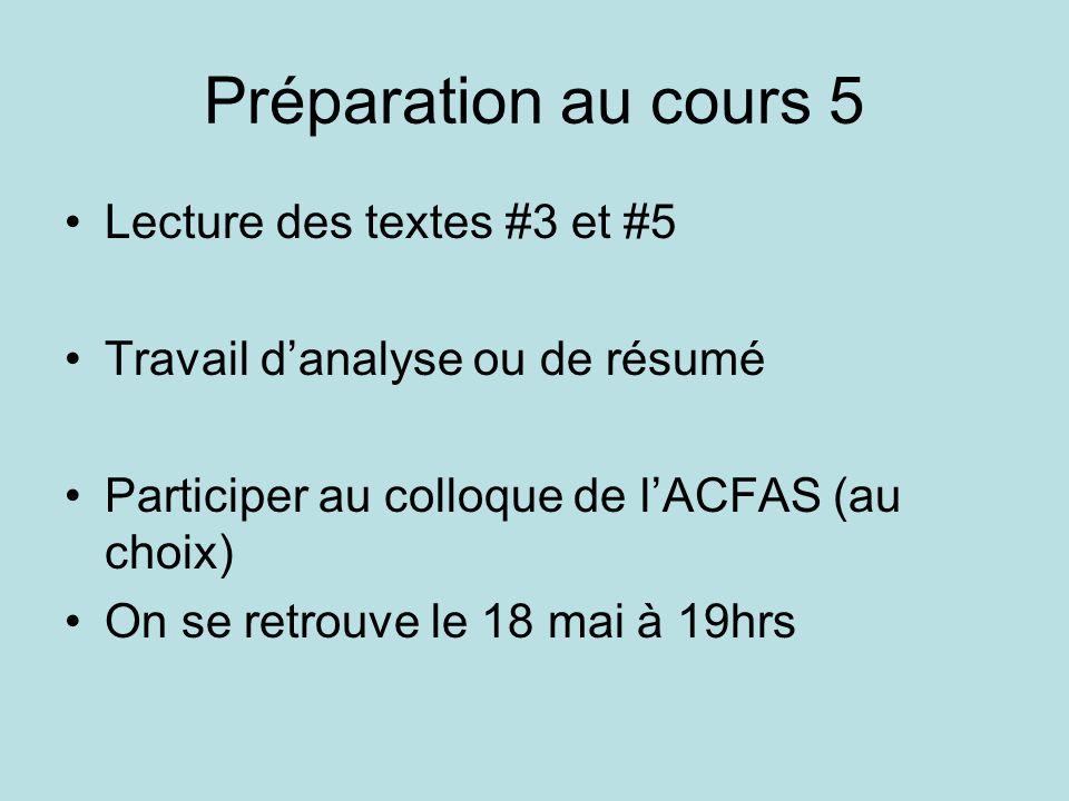 Préparation au cours 5 •Lecture des textes #3 et #5 •Travail d'analyse ou de résumé •Participer au colloque de l'ACFAS (au choix) •On se retrouve le 18 mai à 19hrs