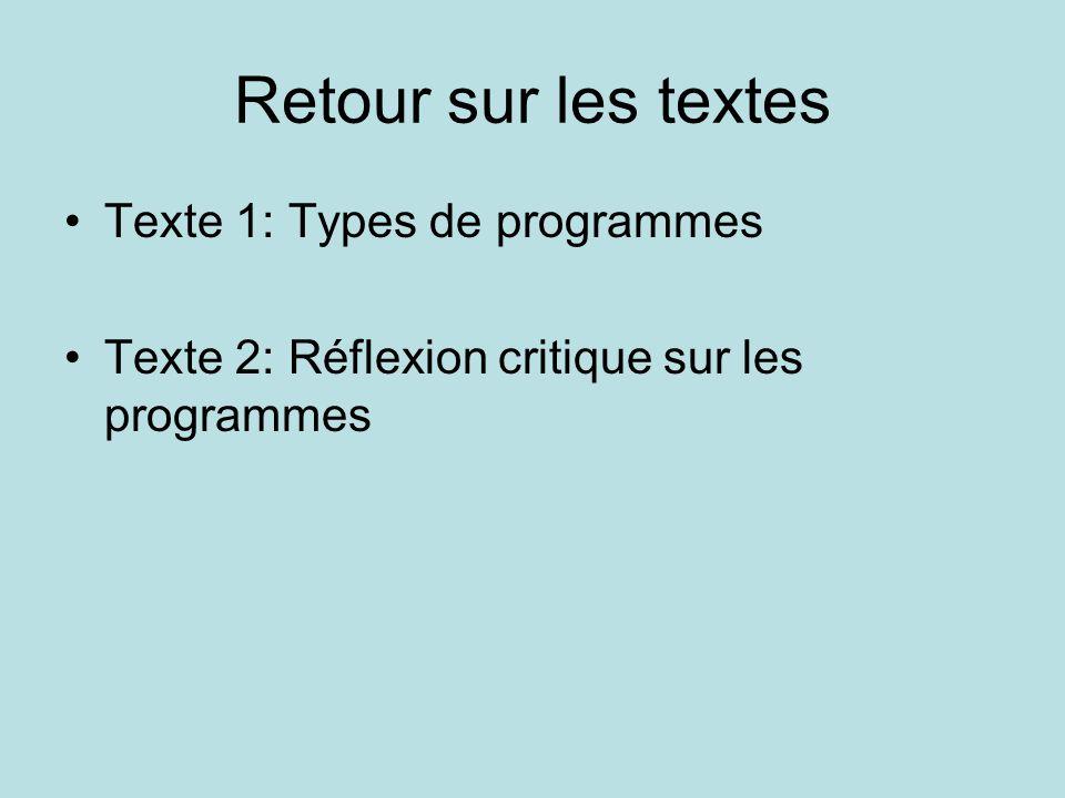 Retour sur les textes •Texte 1: Types de programmes •Texte 2: Réflexion critique sur les programmes