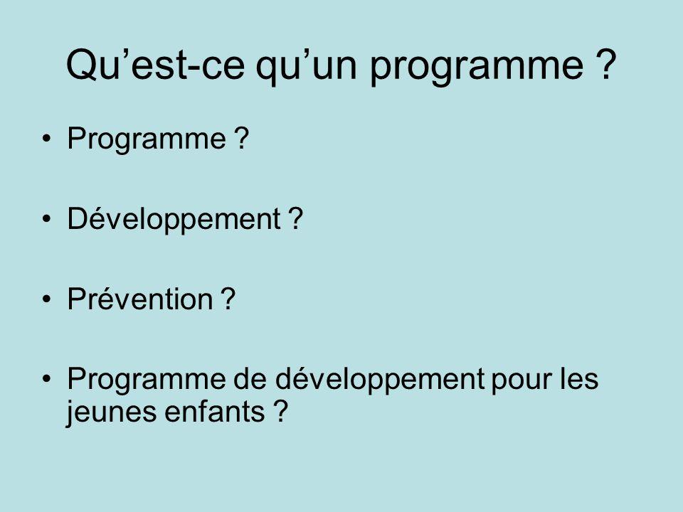 Qu'est-ce qu'un programme ? •Programme ? •Développement ? •Prévention ? •Programme de développement pour les jeunes enfants ?