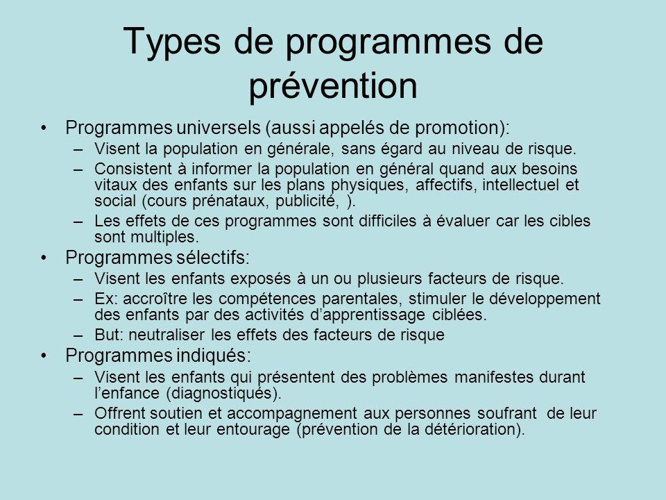 Types de programmes de prévention •Programmes universels (aussi appelés de promotion): –Visent la population en générale, sans égard au niveau de risq