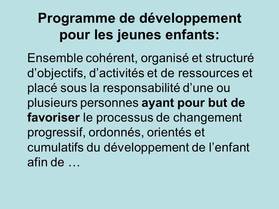 Programme de développement pour les jeunes enfants: Ensemble cohérent, organisé et structuré d'objectifs, d'activités et de ressources et placé sous la responsabilité d'une ou plusieurs personnes ayant pour but de favoriser le processus de changement progressif, ordonnés, orientés et cumulatifs du développement de l'enfant afin de …