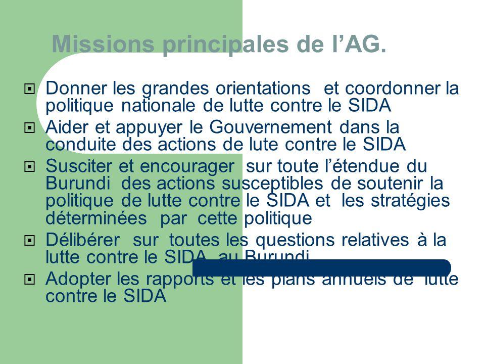 Missions principales de l'AG.