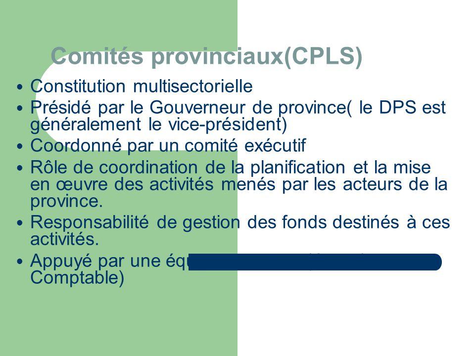 Comités provinciaux(CPLS)  Constitution multisectorielle  Présidé par le Gouverneur de province( le DPS est généralement le vice-président)  Coordonné par un comité exécutif  Rôle de coordination de la planification et la mise en œuvre des activités menés par les acteurs de la province.