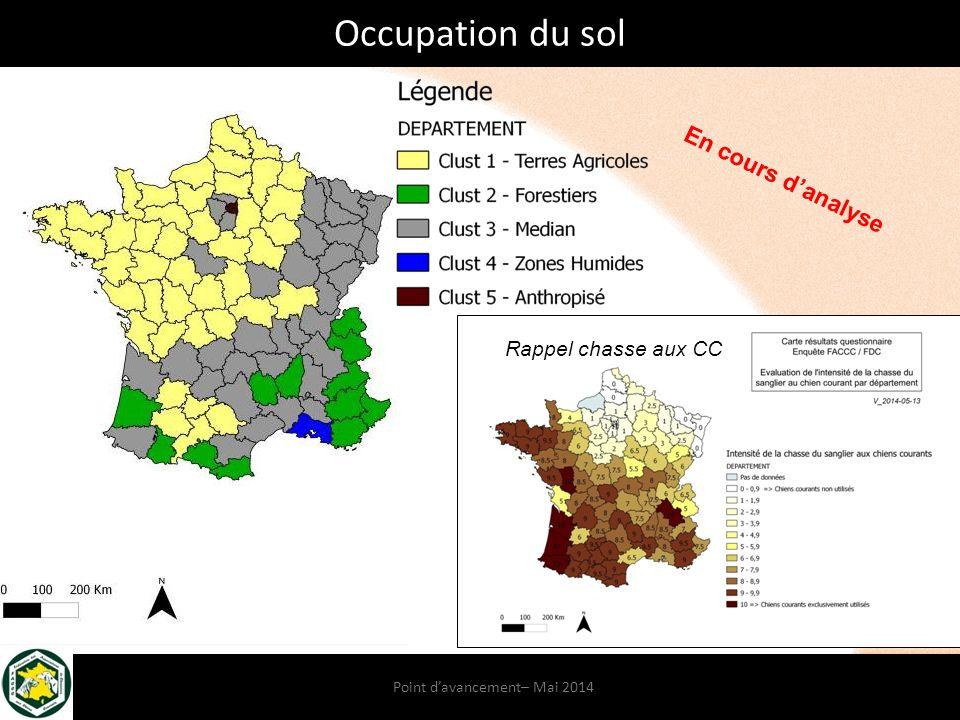 Point d'avancement– Mai 2014 Rappel chasse aux CC Occupation du sol En cours d'analyse