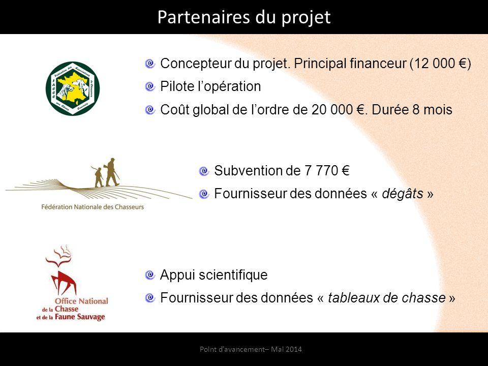 Point d'avancement– Mai 2014 Partenaires du projet Subvention de 7 770 € Fournisseur des données « dégâts » Appui scientifique Fournisseur des données « tableaux de chasse » Concepteur du projet.