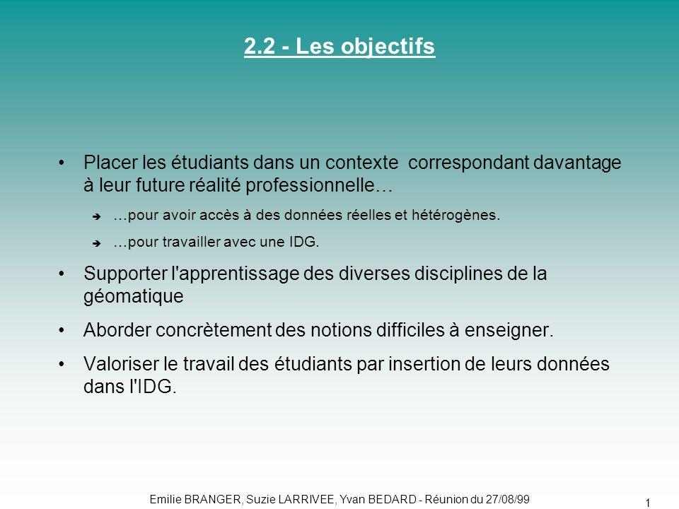 13 2.2 - Les objectifs •Placer les étudiants dans un contexte correspondant davantage à leur future réalité professionnelle…  …pour avoir accès à des données réelles et hétérogènes.