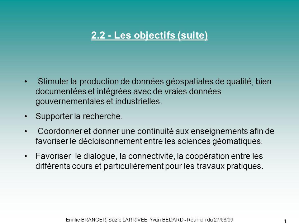 Emilie BRANGER, Suzie LARRIVEE, Yvan BEDARD - Réunion du 27/08/99 14 • Stimuler la production de données géospatiales de qualité, bien documentées et intégrées avec de vraies données gouvernementales et industrielles.