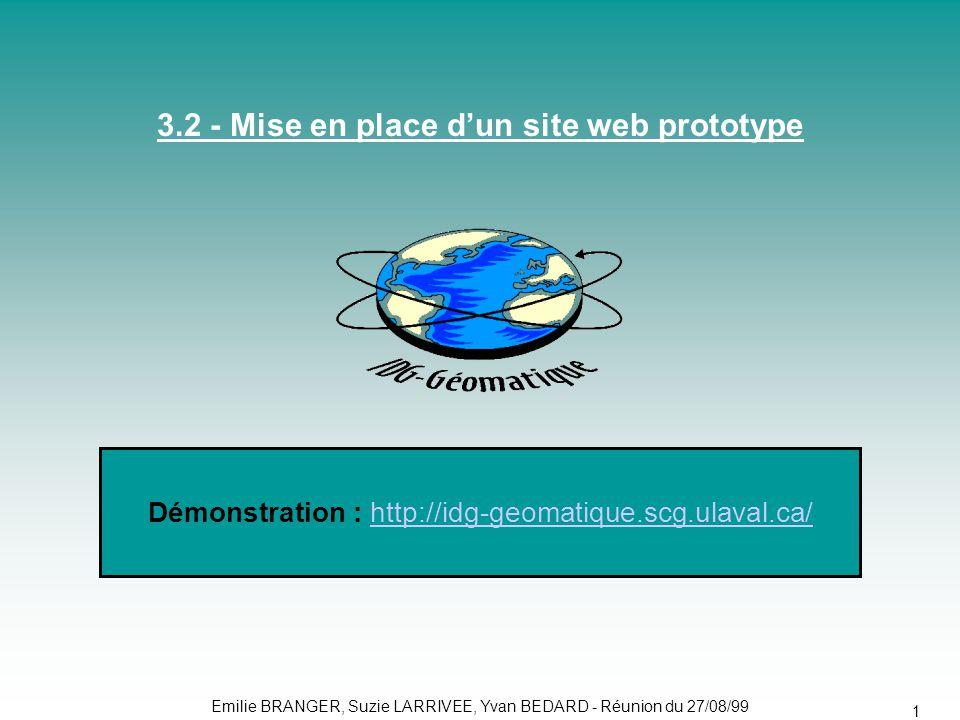 Emilie BRANGER, Suzie LARRIVEE, Yvan BEDARD - Réunion du 27/08/99 19 3.2 - Mise en place d'un site web prototype Démonstration : http://idg-geomatique.scg.ulaval.ca/http://idg-geomatique.scg.ulaval.ca/