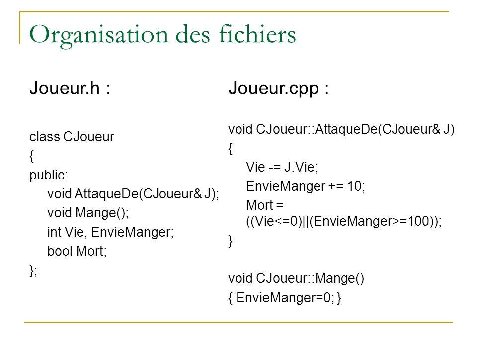 Organisation des fichiers Joueur.h : class CJoueur { public: void AttaqueDe(CJoueur& J); void Mange(); int Vie, EnvieManger; bool Mort; }; Joueur.cpp : void CJoueur::AttaqueDe(CJoueur& J) { Vie -= J.Vie; EnvieManger += 10; Mort = ((Vie =100)); } void CJoueur::Mange() { EnvieManger=0; }