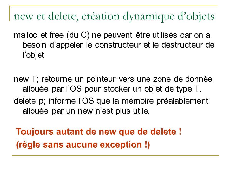 new et delete, création dynamique d'objets malloc et free (du C) ne peuvent être utilisés car on a besoin d'appeler le constructeur et le destructeur de l'objet new T; retourne un pointeur vers une zone de donnée allouée par l'OS pour stocker un objet de type T.