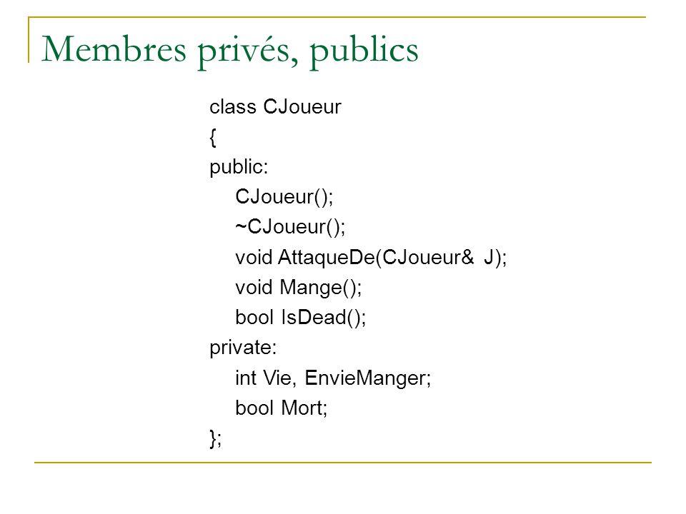 Membres privés, publics class CJoueur { public: CJoueur(); ~CJoueur(); void AttaqueDe(CJoueur& J); void Mange(); bool IsDead(); private: int Vie, EnvieManger; bool Mort; };