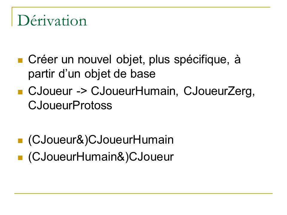 Dérivation  Créer un nouvel objet, plus spécifique, à partir d'un objet de base  CJoueur -> CJoueurHumain, CJoueurZerg, CJoueurProtoss  (CJoueur&)CJoueurHumain  (CJoueurHumain&)CJoueur