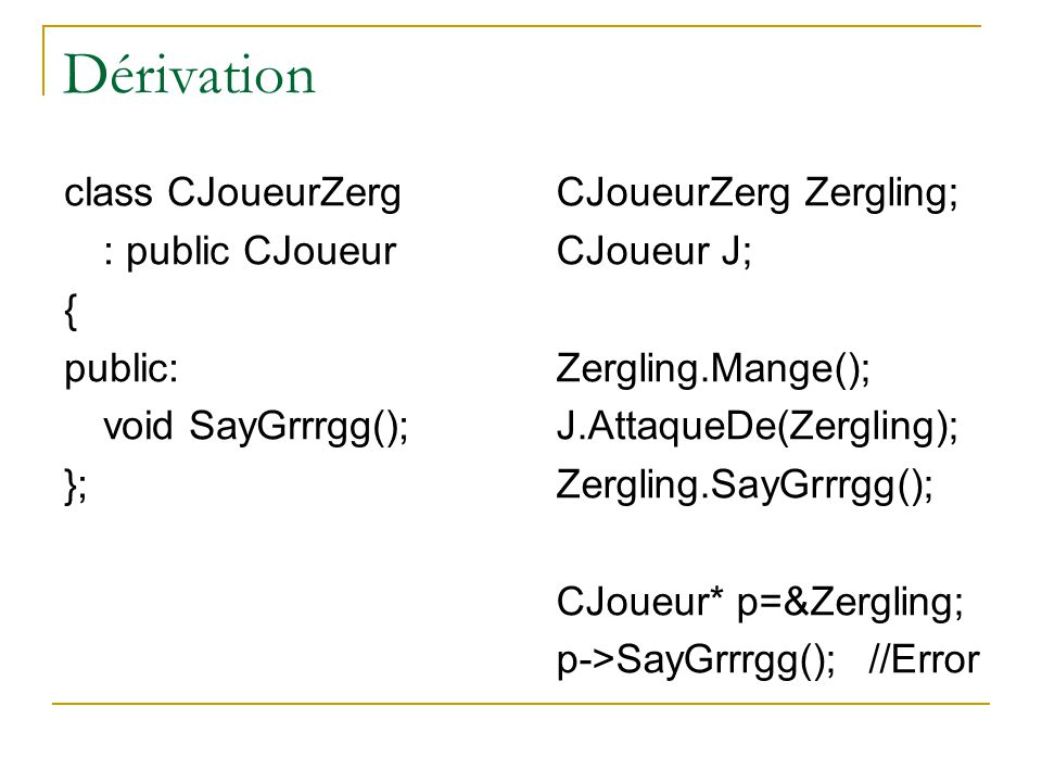 Fonctions virtuelles CJoueurHumain, CJoueurProtoss et CJoueurZerg ne mangent pas de la même façon.
