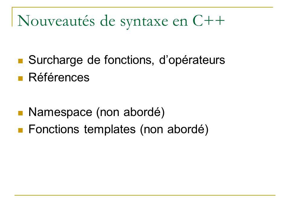 Nouveautés de syntaxe en C++  Surcharge de fonctions, d'opérateurs  Références  Namespace (non abordé)  Fonctions templates (non abordé)