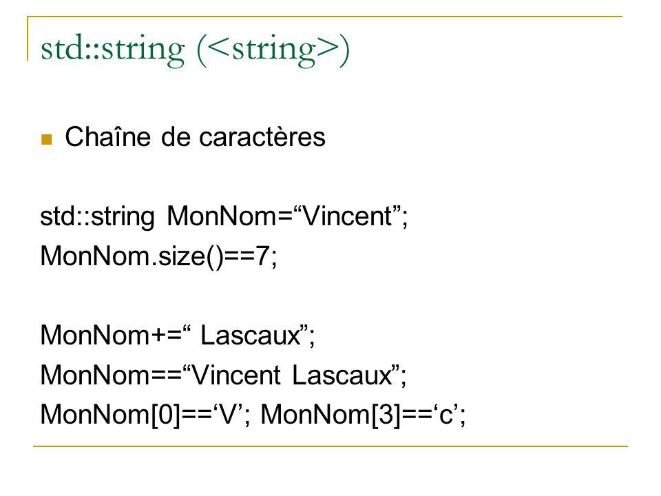 """std::string ( )  Chaîne de caractères std::string MonNom=""""Vincent""""; MonNom.size()==7; MonNom+="""" Lascaux""""; MonNom==""""Vincent Lascaux""""; MonNom[0]=='V';"""