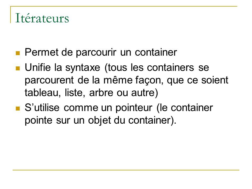 Itérateurs  Permet de parcourir un container  Unifie la syntaxe (tous les containers se parcourent de la même façon, que ce soient tableau, liste, arbre ou autre)  S'utilise comme un pointeur (le container pointe sur un objet du container).
