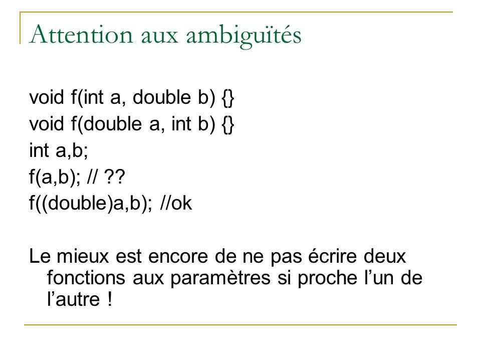 Attention aux ambiguïtés void f(int a, double b) {} void f(double a, int b) {} int a,b; f(a,b); // .