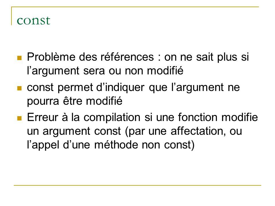 const  Problème des références : on ne sait plus si l'argument sera ou non modifié  const permet d'indiquer que l'argument ne pourra être modifié  Erreur à la compilation si une fonction modifie un argument const (par une affectation, ou l'appel d'une méthode non const)