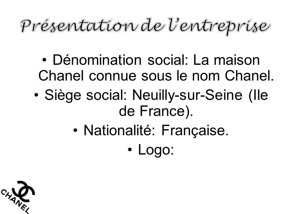 •Dénomination social: La maison Chanel connue sous le nom Chanel. •Siège social: Neuilly-sur-Seine (Ile de France). •Nationalité: Française. •Logo: