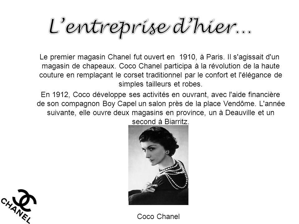 Le premier magasin Chanel fut ouvert en 1910, à Paris. Il s'agissait d'un magasin de chapeaux. Coco Chanel participa à la révolution de la haute coutu