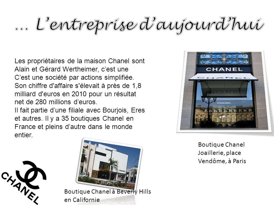 Les propriétaires de la maison Chanel sont Alain et Gérard Wertheimer, c'est une C'est une société par actions simplifiée. Son chiffre d'affaire s'éle