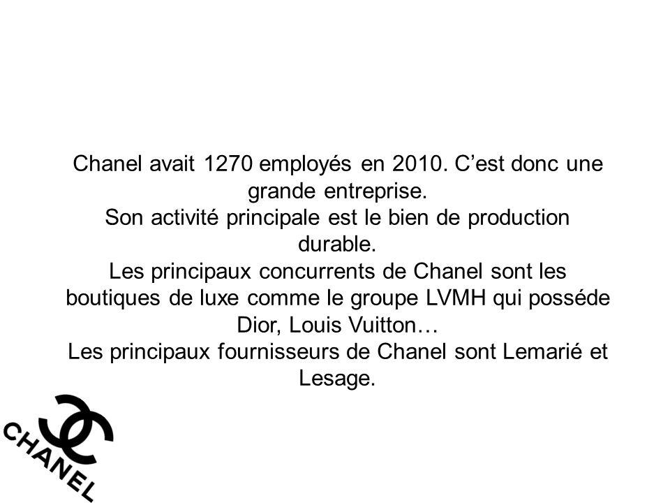Chanel avait 1270 employés en 2010. C'est donc une grande entreprise. Son activité principale est le bien de production durable. Les principaux concur