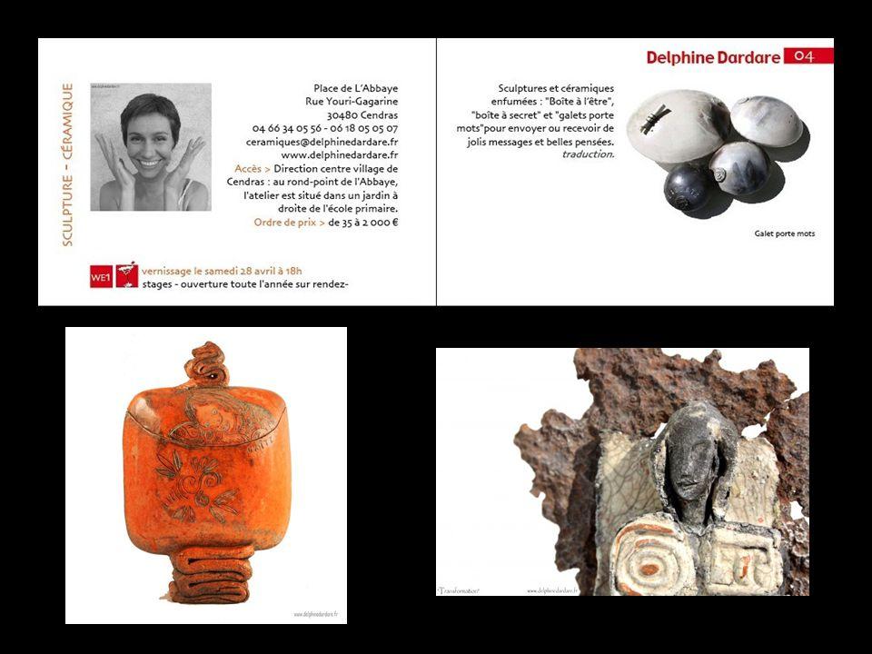 Delphine Dardare céramiques, sculptures boites, galets à Cendras